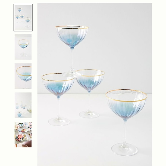 Anthropologie Other - NWT Anthropologie Waterfall Coupe Glasses, Set (4)